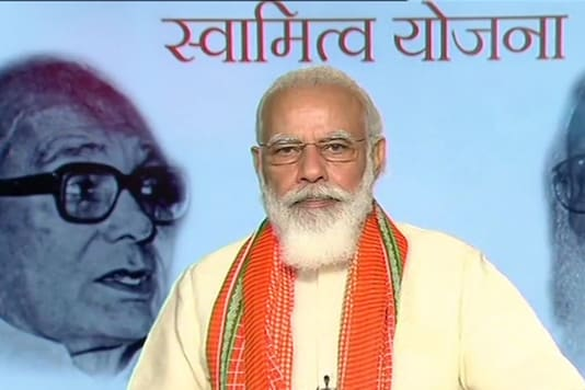 PM Modi during the video conference launched the physical distribution of property cards under the 'SVAMITVA' (ownership) scheme