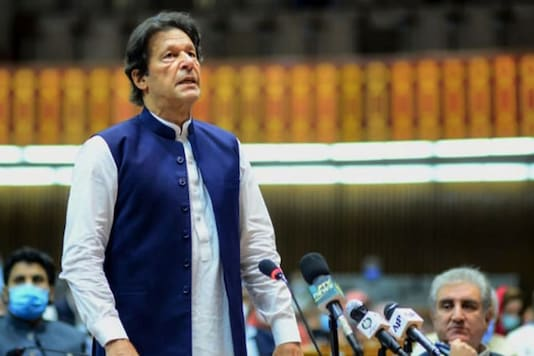 Pakistan Prime Minister Imran Khan speaks during the National Assembly session in Islamabad on June 25, 2020. (AFP)