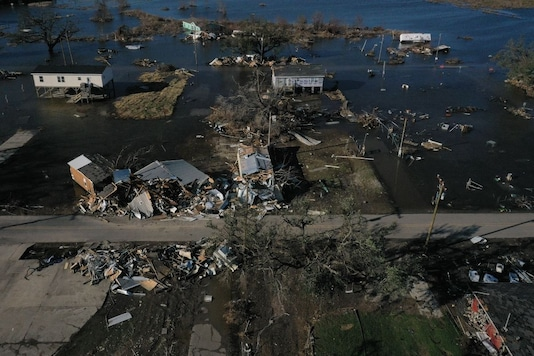 Homes are seen destroyed in the aftermath of Hurricane Delta in Cameron, Louisiana, U.S., October 10, 2020. Picture taken with a drone. REUTERS/Adrees Latif