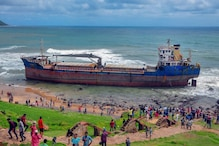 Bangladeshi Cargo Ship Runs Aground on Vizag Beach Amid Heavy Winds
