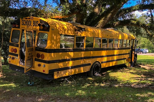The stolen school bus after the crash. (Photo Courtesy: WAFB)