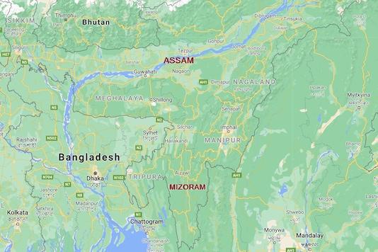 A Google map showing Assam and Mizoram border.