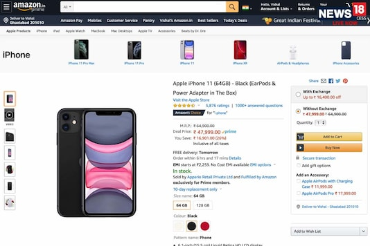 Amazon Great Indian Festival Sale: Apple iPhone 11 At Rs 47,999 Before Discounts, Exchange & Cashback