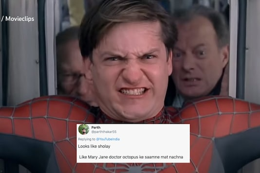 A Spiderman-Sholay crossover has been going viral on Twitter and it all started with Netflix | Image credit: Twitter