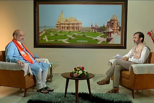Union home minister Amit Shah during an interview to editor-in-chief Rahu Joshi on Saturday. (News18)