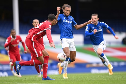 Dominic Calvert-Lewin scored the second goal in Everton's draw with Liverpool. (Photo Credit: AP)