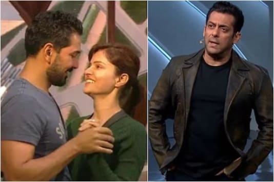 Bigg Boss 14 contestants (L), Salman Khan (R)