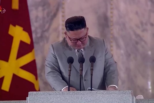 Kim Jong Un reacts during a speech. (Reuters)
