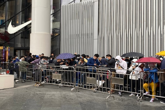A line for the sale of a limited edition Nike shoe in Shanghai. (Keith Bradsher/New York Times)