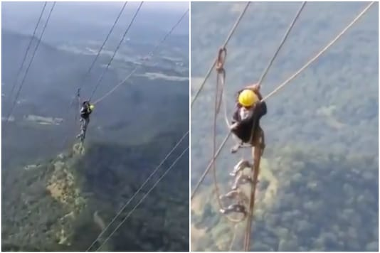 An MSEB employee seen hard at work at dangerous altitudes to fix Mumbai power cut | Image credit: Twitter