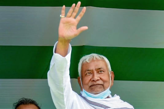 Bihar Chief Minister Nitish Kumar during an election campaign rally ahead of Bihar assembly polls, at Sherghati in Gaya district, Monday, Oct. 19, 2020. (PTI Photo)