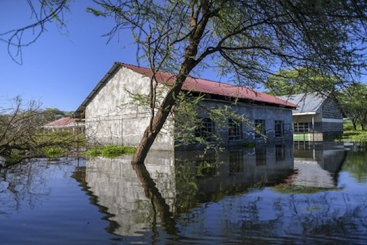 The Salabani primary school's inundated compound by the rising waters of Lake Baringo at Salabani village near Marigat, Baringo county on the Kenyan Rift Valley. (Photo by TONY KARUMBA / AFP)