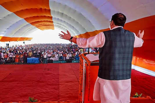 West Champaran: BJP National President JP Nadda addresses a public rally at Bada Ramna Maidan, Bettiah in West Champaran district of Bihar, Wednesday, Oct. 21, 2020. (PTI Photo)