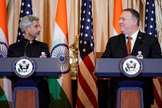 External Affairs Minister S Jaishankar and US Secretary of State Mike Pompeo speak to the media after the US-India 2+2 Ministerial Dialogue at the State Department in Washington, on December 18, 2019. (REUTERS/Joshua Roberts)