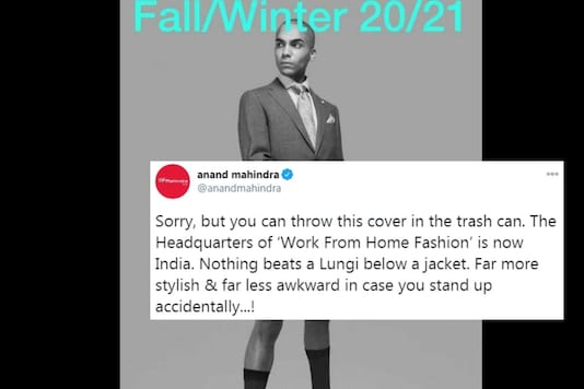 Mahindra had his own opinion in the image and suggested that Indians have the bliss of wearing comfy lungi and will never be a victim of Zoom meeting goof-up.
