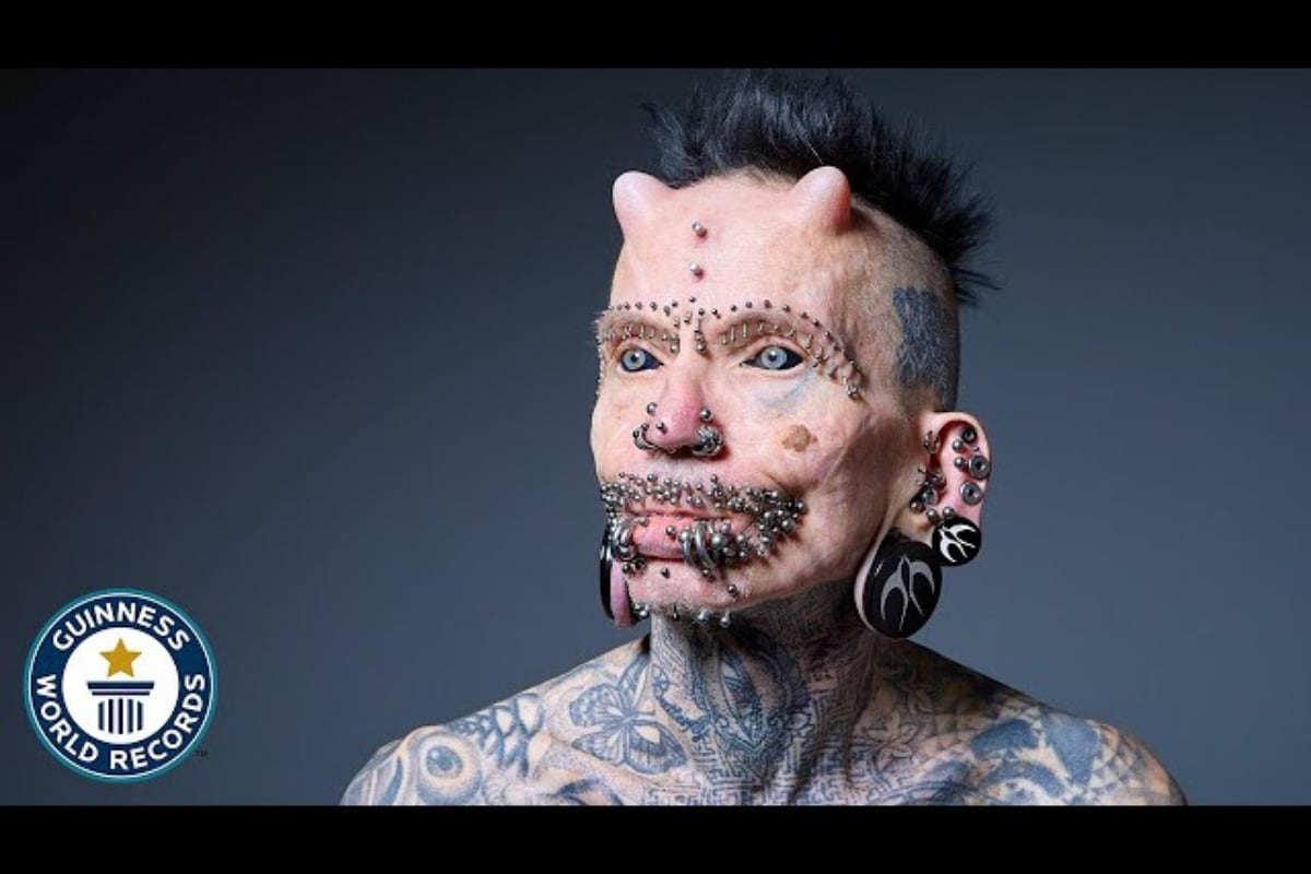 German Man Sets Record for Most Number of Body Modifications, Including Two Horns and 453 Piercings