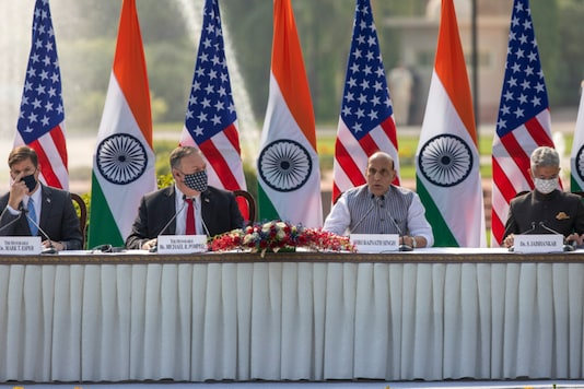 (From left) US Secretary of Defence Mark Esper, US Secretary of State Mike Pompeo, Defence Minister Rajnath Singh and Foreign Minister S Jaishankar address a joint press conference at Hyderabad House in New Delhi, on October 27, 2020. (AP Photo/Altaf Qadri)