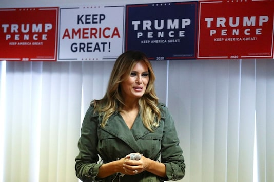 U.S. first lady Melania Trump speaks as she meets with volunteers at the Republican Committee of Lancaster County in Lancaster, Pennsylvania, U.S., October 27, 2020. REUTERS/Hannah Mckay
