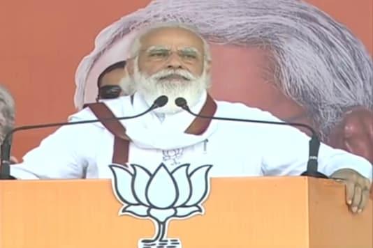 PM Modi speaks at a rally in Darbhanga