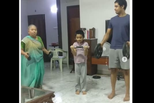 Chirag said his grandmother shows off her squat to every visitor, even if they're shocked by the idea that seniors can lift safely. (Credit: Instagram)