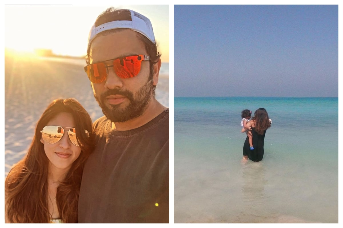IPL 2020: Rohit Sharma and Wife Ritika Sajdeh Relax at the Beach in UAE