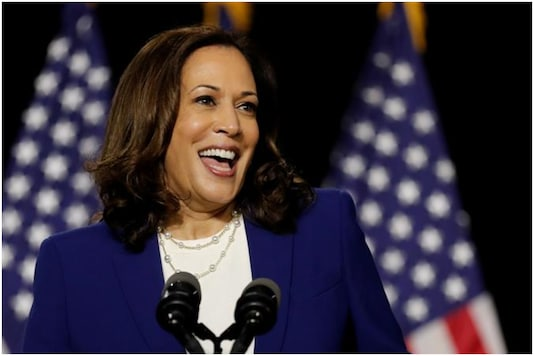 Kamala Harris has been criticised by Donald Trump as strange for laughing too much   Image credit: Reuters