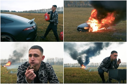 A Russian blogger's video of burning a Mercedes car has left internet stunned   Image credit: YouTube
