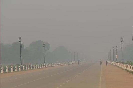 Deteriorated air quality in New Delhi on Thursday morning. (ANI)