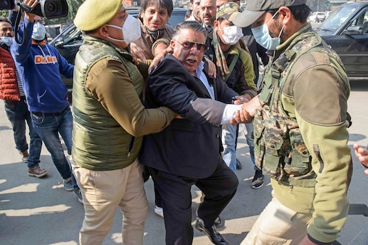 Peoples Democratic Party (PDP) members detained by police during their protest against the new land law, in Srinagar, Thursday, Oct. 29, 2020. (PTI Photo)(PTI29-10-2020_000079B)