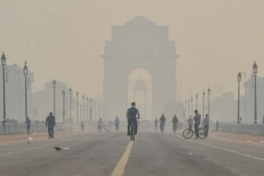 A cyclist rides near India Gate in New Delhi. (Image: PTI)