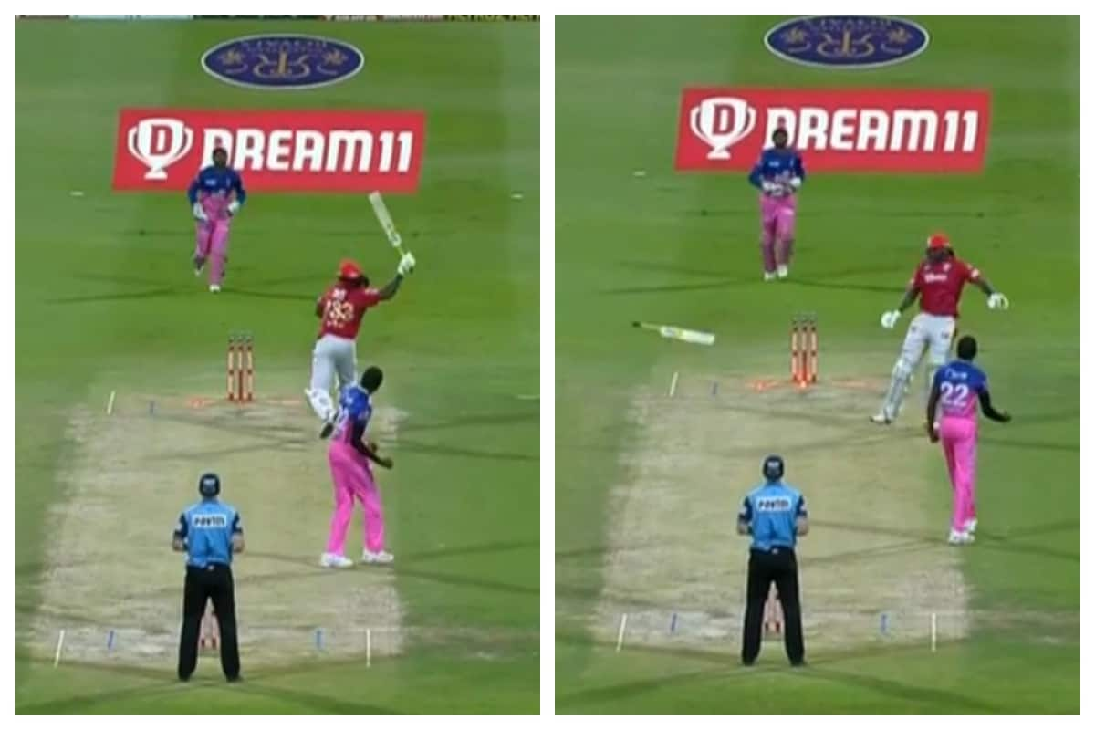 KXIP vs RR IPL 2020: WATCH - Furious Chris Gayle Throws Bat in Anger After Getting Out for 99 to Jofra Archer