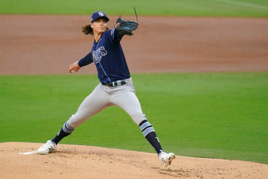 Tampa Bay Rays pitcher Tyler Glasnow pitches during the first nning in Game 4 of a baseball American League Championship Series, Wednesday against the Houston Astros, Oct. 14, 2020, in San Diego. (AP Photo/Gregory Bull)