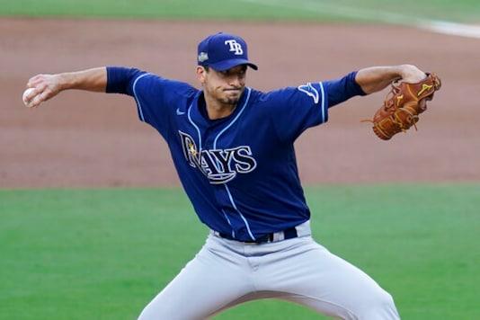Tampa Bay Rays starting pitcher Charlie Morton (50) throws against the New York Yankees during the first inning in Game 3 of a baseball American League Division Series, Wednesday, Oct. 7, 2020, in San Diego. (AP Photo/Gregory Bull)