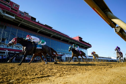 Miss Marissa (9), with Daniel Centeno aboard, wins the Black Eyed Susan horse race at Pimlico Race Course, Saturday, Oct. 3, 2020, in Baltimore. (AP Photo/Steve Helber)
