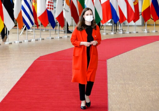 Finland's Prime Minister Sanna Marin arrives for an EU summit in Brussels, Friday, Oct. 16, 2020. European Union leaders meet for the second day of an EU summit, amid the worsening coronavirus pandemic, to discuss topics on foreign policy issues. (Johanna Geron, Pool via AP)