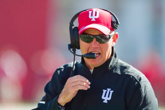 FILE - In this Saturday, Oct. 13, 2018, file photo, Indiana head coach Tom Allen is seen on the sidelines during the second half of an NCAA college football game against Iowa, in Bloomington, Ind. The Big Ten will start playing football at what normally would be midseason. The coronavirus pandemic limited or eliminated most spring practices. Positive COVID-19 tests and precautions, along with uncertainty about whether there would even be a season, caused disruptions in summer workouts and preseason practices. (AP Photo/Doug McSchooler, File)
