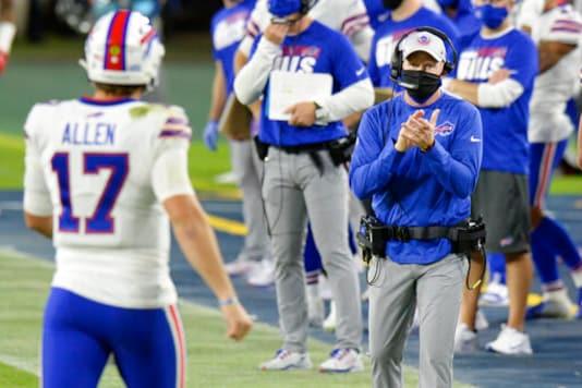 Buffalo Bills head coach Sean McDermott applauds quarterback Josh Allen (17) in the first half of an NFL football game against the Tennessee Titans Tuesday, Oct. 13, 2020, in Nashville, Tenn. (AP Photo/Mark Zaleski)