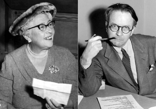 This combination photo shows mystery writers Agatha Christie in 1957, left, and Raymond Chandler in 1946. Work from both writers  appear in the new issue of Strand Magazine, a quarterly which has published obscure work by John Steinbeck, Mark Twain and William Faulkner among others. (AP Photo)