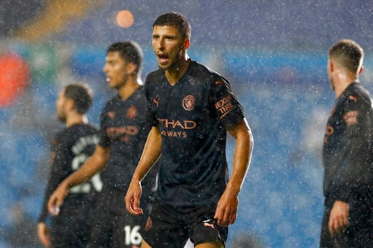 Manchester City's Ruben Dias shouts during the English Premier League soccer match between Leeds United and Manchester City at Elland Road in Leeds, England, Saturday, Oct. 3, 2020. (Jason Cairnduff/Pool via AP)