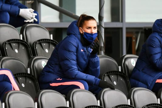 Tottenham Hotspur's Alex Morgan sit in the stands during the FA Women's Super League soccer match between Tottenham Hotspur and Manchester United, at the Hive, in London, Saturday, Oct. 10, 2020. (Kirsty O'Connor/PA via AP)