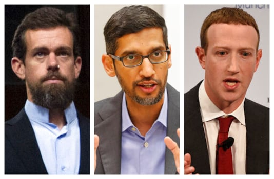 This combination of 2018-2020 photos shows, from left, Twitter CEO Jack Dorsey, Google CEO Sundar Pichai, and Facebook CEO Mark Zuckerberg. Less than a week before Election Day, the CEOs of Twitter, Facebook and Google are set to face a grilling by Republican senators who accuse the tech giants of anti-conservative bias. Democrats are trying to expand the discussion to include other issues such as the companies heavy impact on local news. (AP Photo/Jose Luis Magana, LM Otero, Jens Meyer)