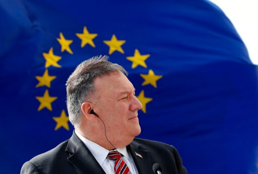 U.S. Secretary of State Mike Pompeo listens as Croatia's Prime Minister Andrej Plenkovic speaks during a joint press conference in Dubrovnik, Croatia, Friday, Oct. 2, 2020. Pompeo is in Croatia as part of his six-day trip to Southern Europe. (AP Photo/Darko Bandic, Pool)