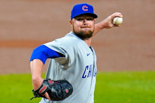 Chicago Cubs starting pitcher Jon Lester delivers during the first inning of a baseball game against the Pittsburgh Pirates in Pittsburgh, Monday, Sept. 21, 2020. (AP Photo/Gene J. Puskar)