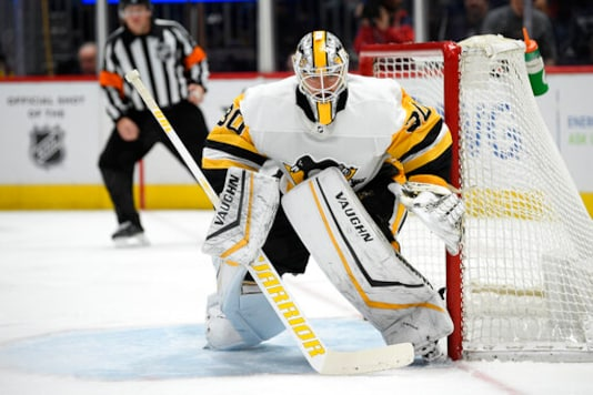 Pittsburgh Penguins goaltender Matt Murray (30) stands on the ice during the second period of an NHL hockey game against the Washington Capitals, Sunday, Feb. 23, 2020, in Washington. The Penguins got the action started on the second day of the NHL draft by trading goaltender Matt Murray to the Ottawa Senators. Pittsburgh got a second-round pick, 52nd overall, and forward prospect Jonathan Gruden for Murray. (AP Photo/Nick Wass)