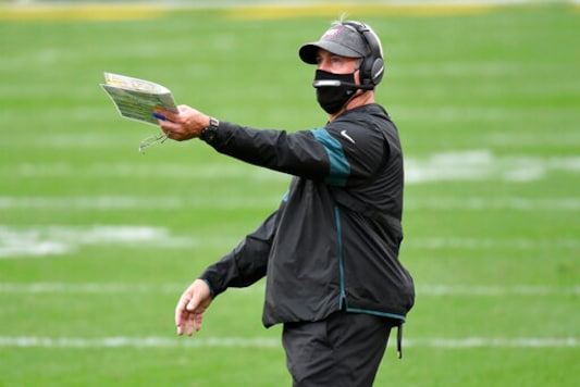 Philadelphia Eagles head coach Doug Pederson gives instructions during the first half of an NFL football game against the Pittsburgh Steelers in Pittsburgh, Sunday, Oct. 11, 2020. (AP Photo/Don Wright)