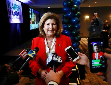 Republican Karen Handel, speaking in a Tuesday, Nov. 6, 2018 file photo in Atlanta, is seeking to reclaim the seat she once held representing suburban Atlantas 6th Congressional District. She debated Tuesday, Oct. 13, 2020 with her general election opponent, Democratic U.S. Rep. Lucy McBath, who narrowly beat Handel in 2018 to claim the seat in an affluent district that includes parts of Cobb, Fulton and DeKalb counties. (Curtis Compton/Atlanta Journal-Constitution via AP)