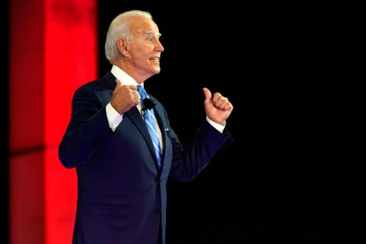 Democratic presidential candidate former Vice President Joe Biden speaks at a NBC Town Hall at Prez Art Museum, Monday, Oct. 5, 2020, in Miami. (AP Photo/Andrew Harnik)