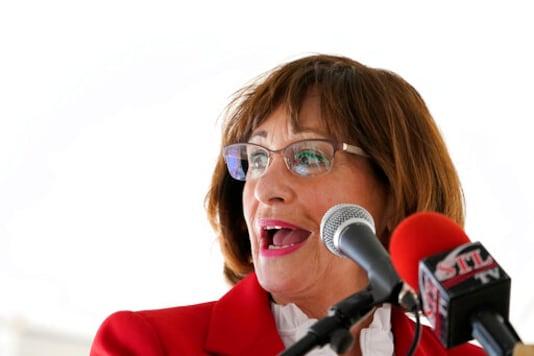 Missouri state Sen. Jill Schupp speaks Friday, Oct. 16, 2020, in St. Louis. Schupp, a Democrat, is challenging incumbent Republican Rep. Ann Wagner in Missouri's 2nd Congressional District. (AP Photo/Jeff Roberson)