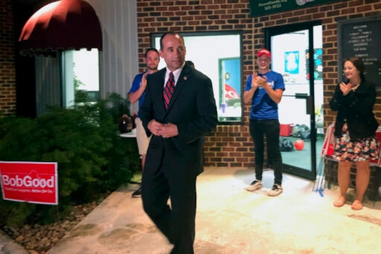 FILE - In this June 14, 2020, file photo 5th Congressional District Republican candidate Bob Good leaves Lynchburg's Tree of Life Ministries, in Lynchburg, Va. Good is running against Democrat Cameron Webb. (Amy Friedenberger/The Roanoke Times via AP, File)