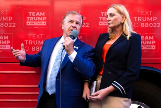 St. Louis-based lawyers Mark and Patricia McCloskey speak outside the Republican campaign office in downtown Scranton, Pa., during an appearance with former congressman Lou Barletta for a Trump campaign event on Wednesday, Sept. 30, 2020. The McCloskeys received national attention in June when they pulled guns on Black Lives Matter protesters who broke into their gated community and marched past their home. (Christopher Dolan/The Times-Tribune via AP)